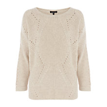 Buy Warehouse Curve Hem Rib Jumper, Cream Online at johnlewis.com