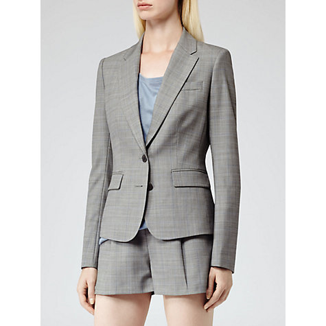 Buy Reiss Harper Bye Check Structured Jacket, Grey Online at johnlewis.com