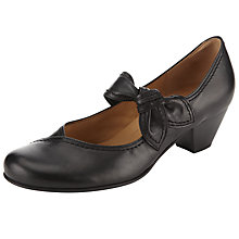 Buy Gabor Henrietta Leather Bow Detail Court Shoes, Black Online at johnlewis.com