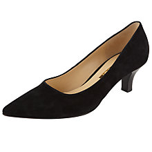 Buy Gabor Arnica Point Toe Kitten Heel Suede Court Shoes, Black Online at johnlewis.com