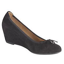Buy Gabor Amorette Suede Wedge Heel Court Shoes, Black Online at johnlewis.com