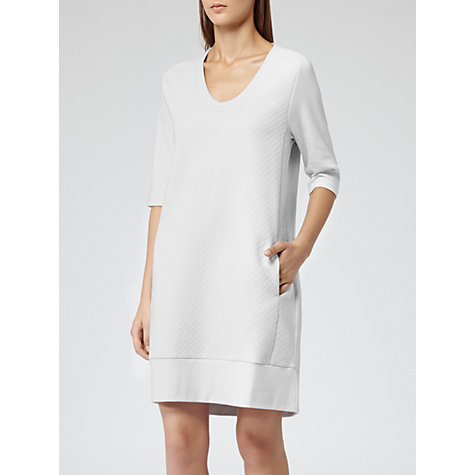 Buy Reiss 1971 Jemma Quilted Sweatshirt Dress, Ice Grey Online at johnlewis.com
