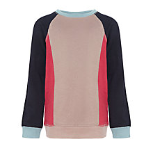 Buy Kin by John Lewis Boys' Crew Neck Panel Jumper, Beige/Navy Online at johnlewis.com