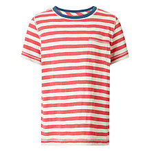 Buy John Lewis Boy Feeder Stripe T-Shirt, Red/Grey Online at johnlewis.com