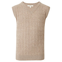 Buy John Lewis Boy V Neck Cable Knitted Tank Top, Oatmeal Online at johnlewis.com