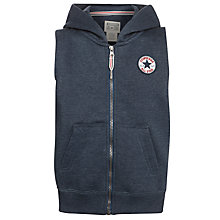 Buy Converse Boys' Sleeveless Zip-Through Hoodie, Charcoal Online at johnlewis.com