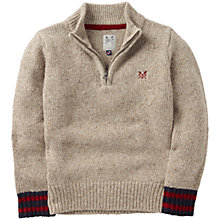 Buy Crew Clothing Boys' Grover Zip Front Jumper, Oatmeal Online at johnlewis.com