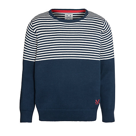 Buy Crew Clothing Boys' Franklin Crew Neck Striped Jumper, Navy Online at johnlewis.com