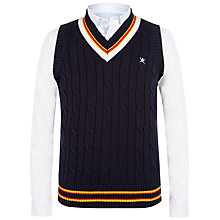 Buy Hackett London Boys' Cable Knit V-Neck Cricket Tank Top, Blue Online at johnlewis.com