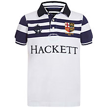 Buy Hackett London Boys' Boat Race Stripe Polo Shirt, White Online at johnlewis.com