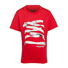 Buy Converse Boys' Shoe Lace Print T-Shirt, Red Online at johnlewis.com