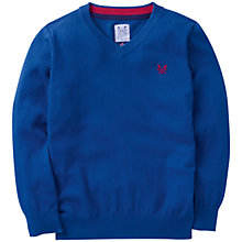 Buy Crew Clothing Boys' Foxton V-Neck Jumper, Blue Online at johnlewis.com
