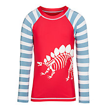 Buy Hatley Boys' Dinosaur Swimming Rash Vest, Red Online at johnlewis.com