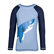 Buy Hatley Boys' Shark Swimming Rash Vest, Navy/Multi Online at johnlewis.com