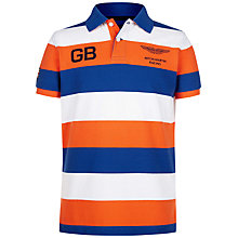 Buy Hackett London Boys' Aston Martin Racing Stripe Polo Shirt, Orange/Blue Online at johnlewis.com