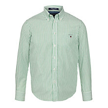 Buy Gant Boys' Breton Long Sleeve Stripe Shirt, Green/White Online at johnlewis.com