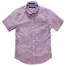 Buy Gant Boys' Short Sleeve Gingham Shirt, Navy/Red Online at johnlewis.com