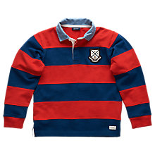 Buy Gant Boys' Long Sleeve Rugby Jumper, Red/Blue Online at johnlewis.com