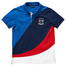 Buy Gant Boys' Short Sleeve Pique Polo, Blue/Red Online at johnlewis.com