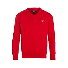 Buy Gant Boys' V-Neck Knitted Jumper, Red Online at johnlewis.com