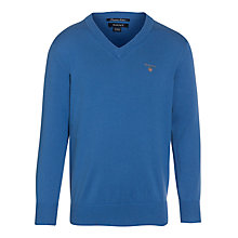 Buy Gant Boys' V-Neck Knit Jumper, Blue Online at johnlewis.com