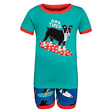 Buy Hatley Boys' Surfing Dog Short Pyjamas, Blue/Green Online at johnlewis.com