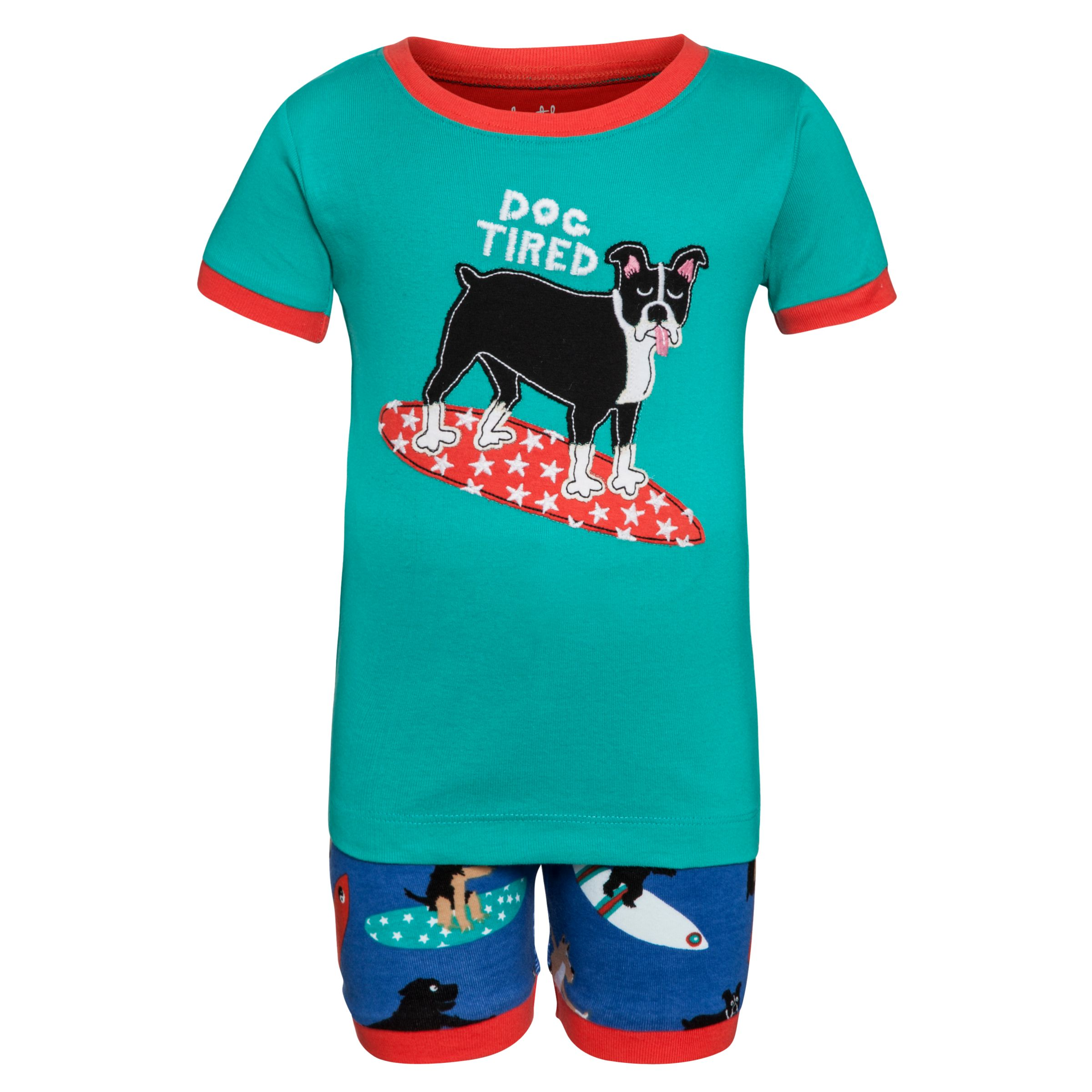 Hatley Boys' Surfing Dog Short Pyjamas, Blue/Green