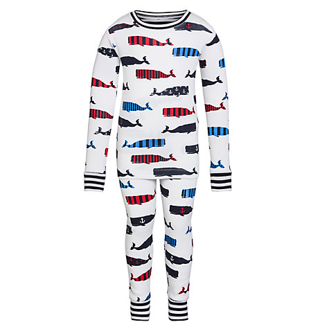 Buy Hatley Boys' Long Sleeve Whale Pyjamas, White/Multi Online at johnlewis.com