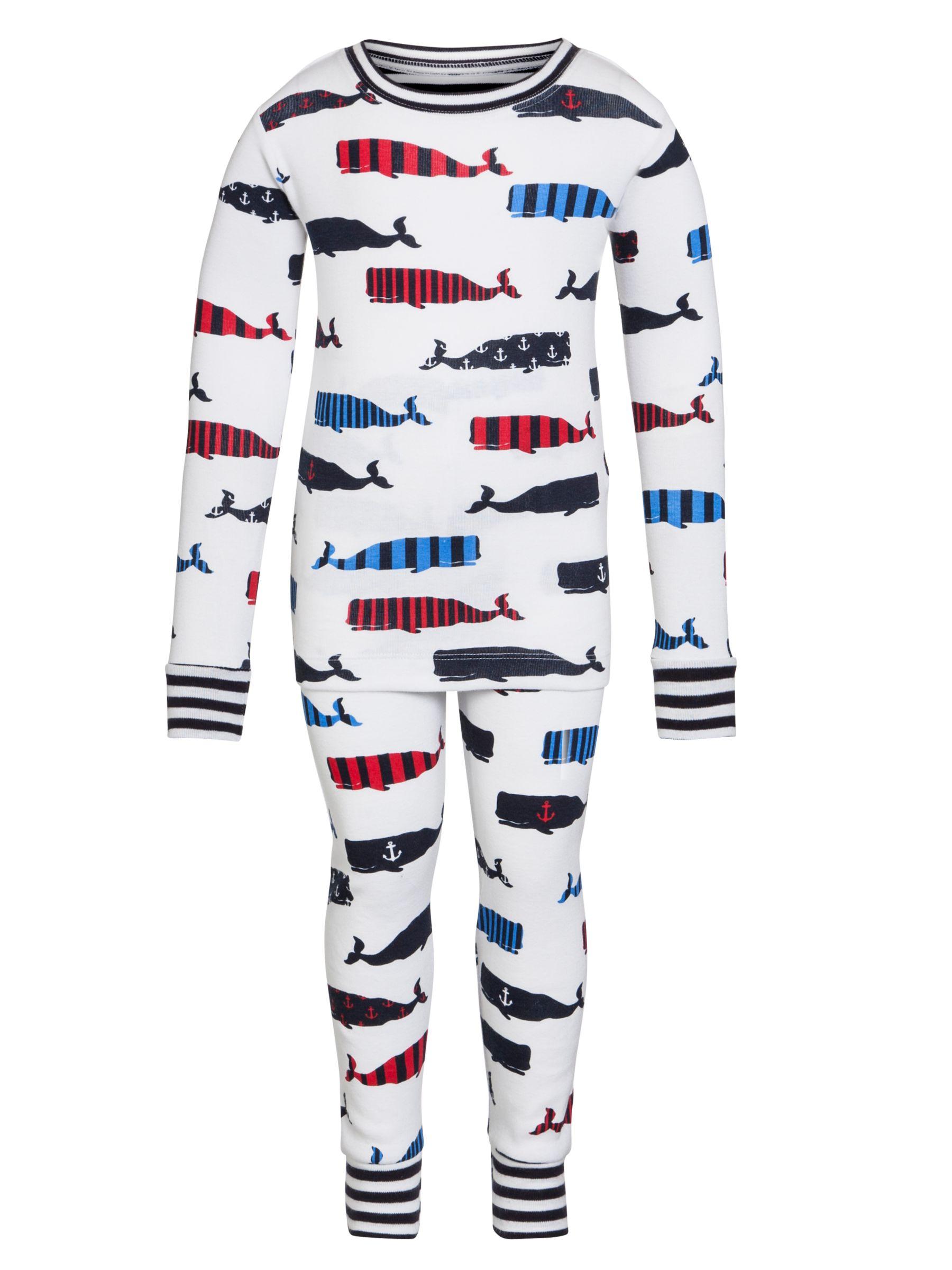 Hatley Boys' Long Sleeve Whale Pyjamas, White/Multi