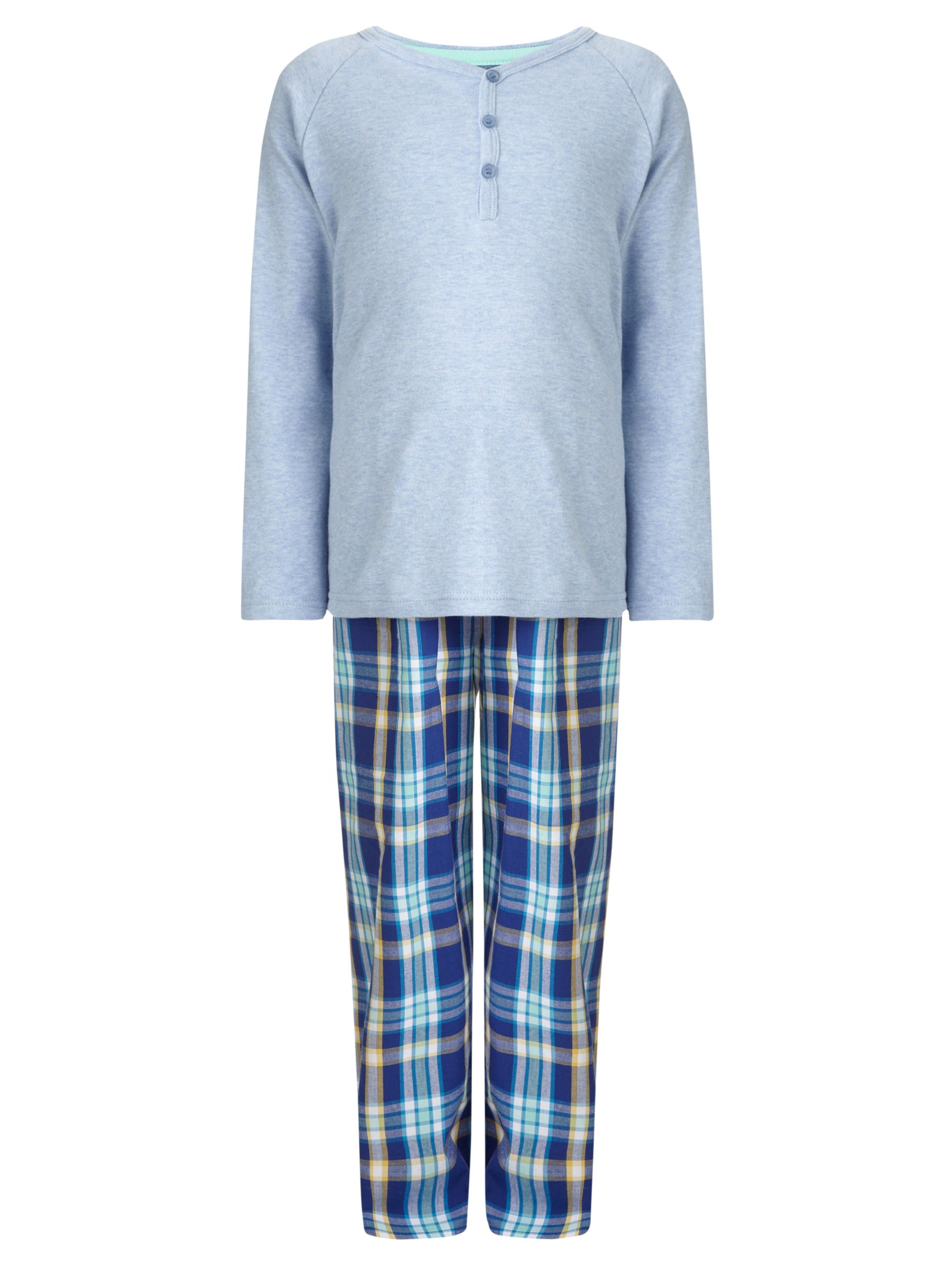 John Lewis Boy Jersey Woven Check Pyjamas, Blue