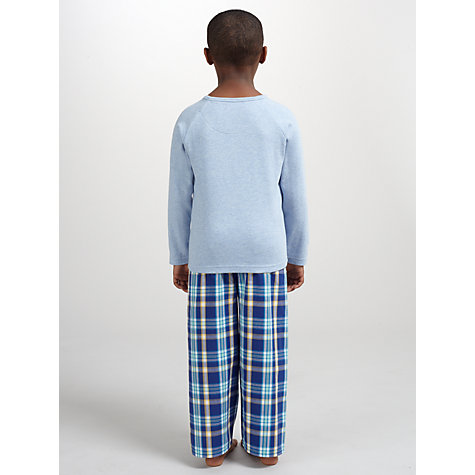 Buy John Lewis Boy Jersey Woven Check Pyjamas, Blue Online at johnlewis.com