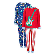 Buy John Lewis Boy Guitar Pyjamas, Pack of 2, Red/Navy Online at johnlewis.com