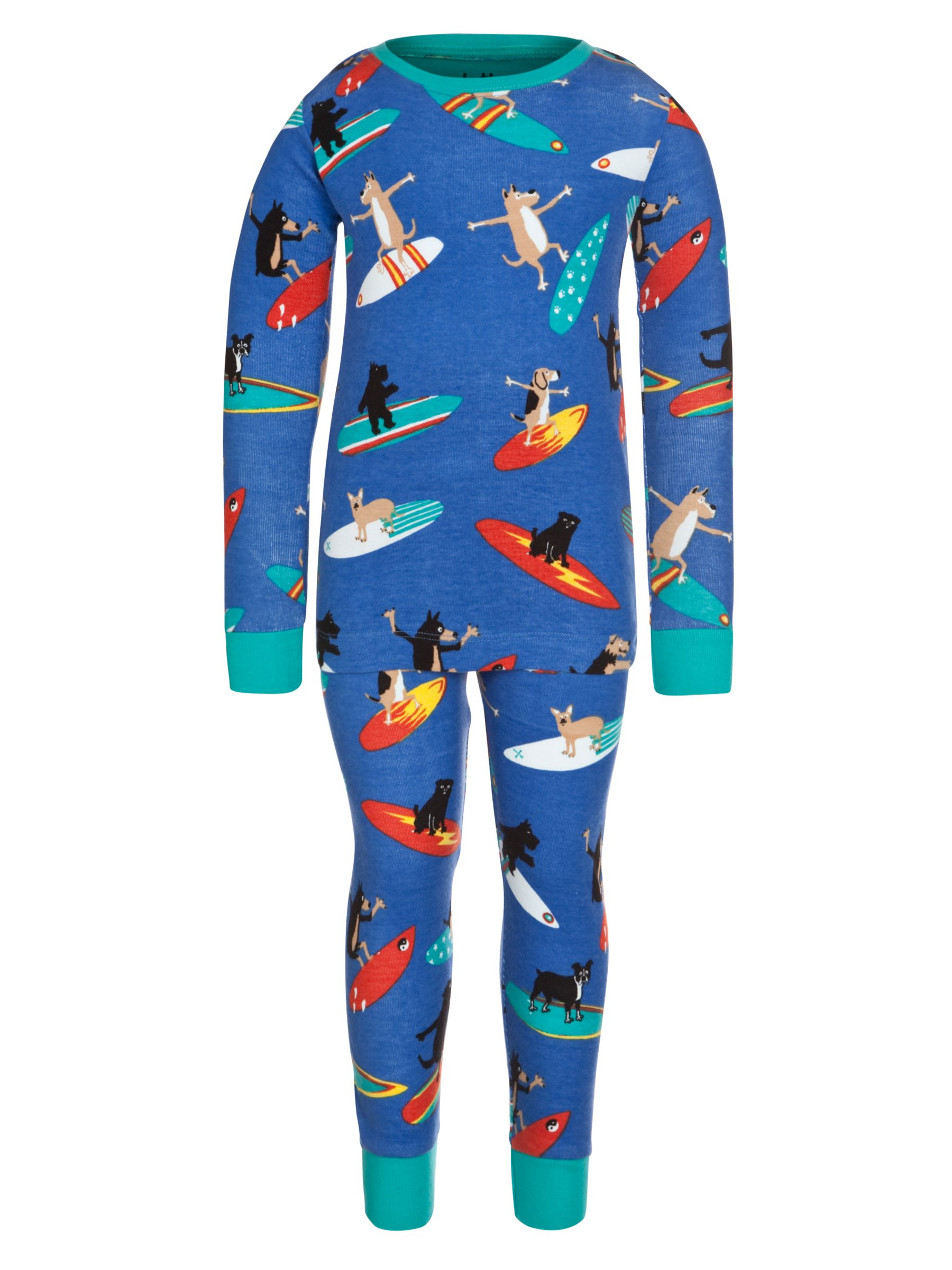 Hatley Long Sleeve Surfing Dogs Pyjamas, Blue
