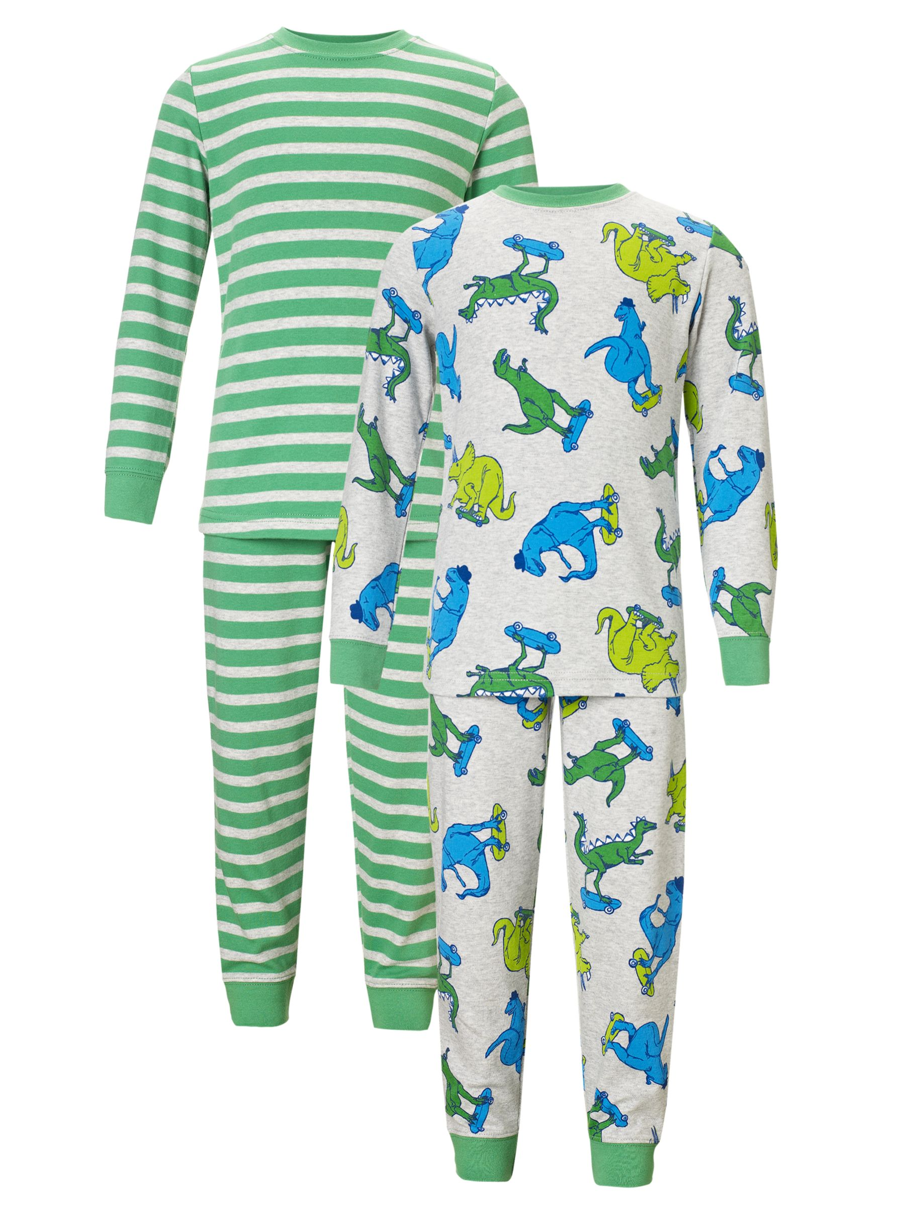 John Lewis Boy Dino Stripe Pyjamas, Pack of 2, Green/Grey