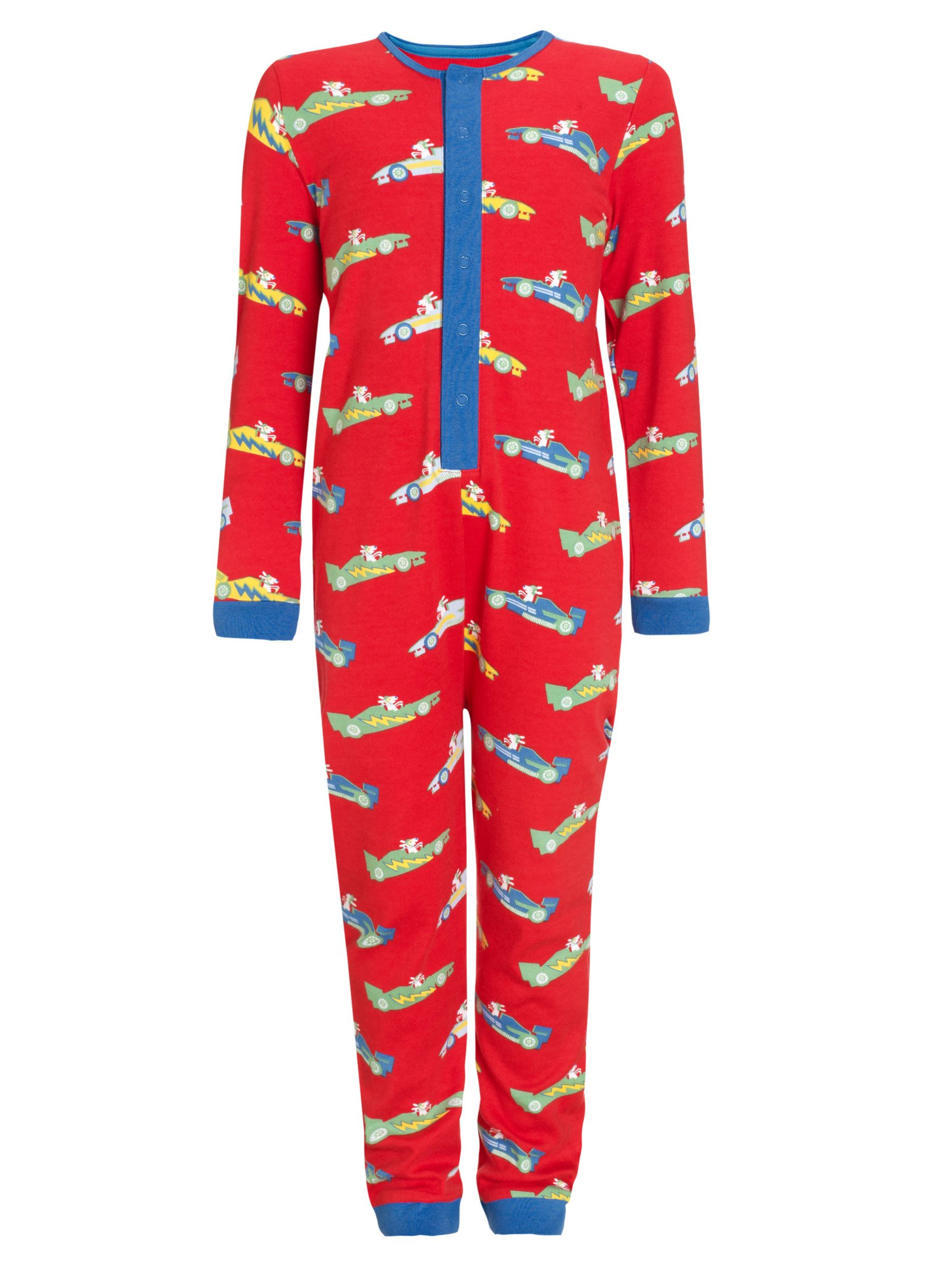 John Lewis Boy Dogs in Cars Onesie, Red/Multi