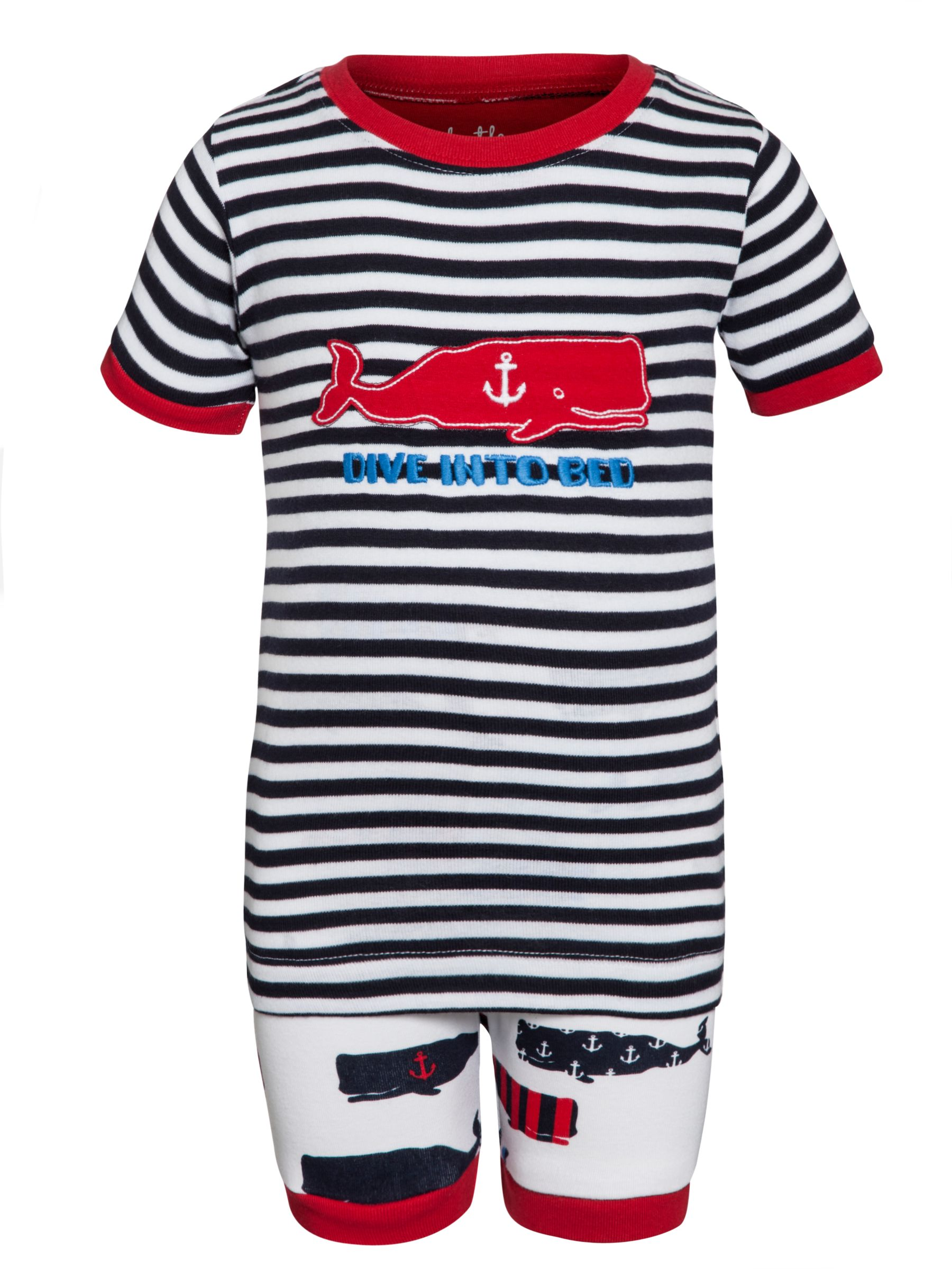 Hatley Boys' Whale Print Short Pyjamas, Multi