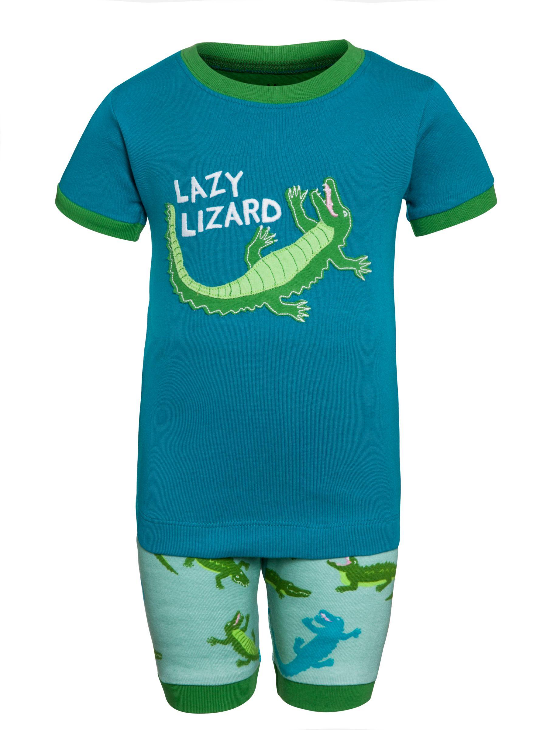 Hatley Boys' Lazy Lizard Short Pyjamas, Green