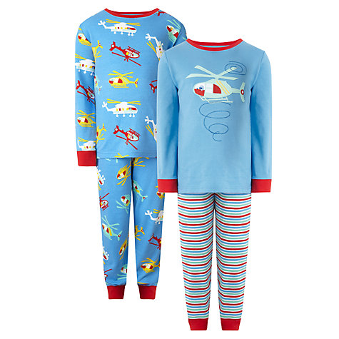 Buy John Lewis Boy Helicopter Pyjamas, Pack of 2, Blue Online at johnlewis.com