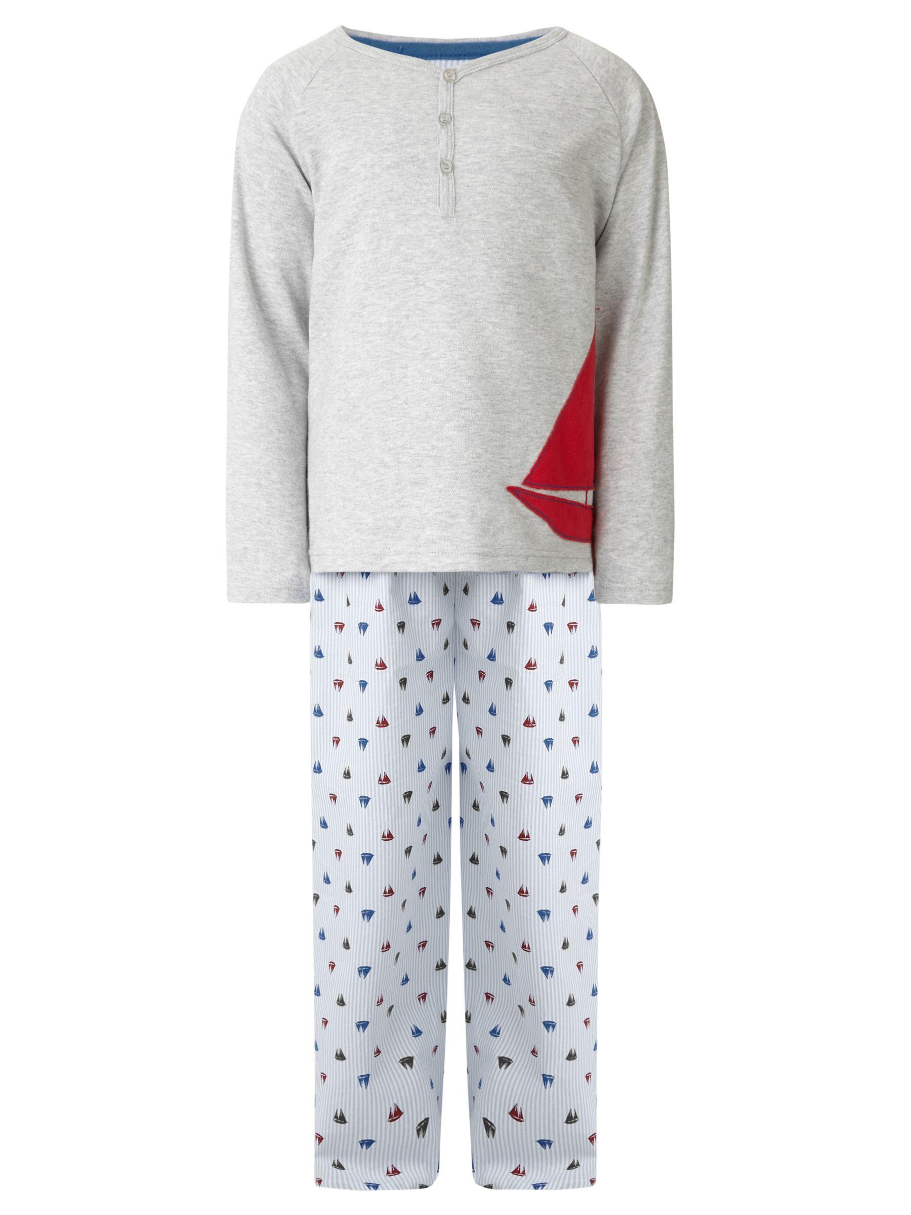 John Lewis Boy Boat Print Pyjamas, Grey