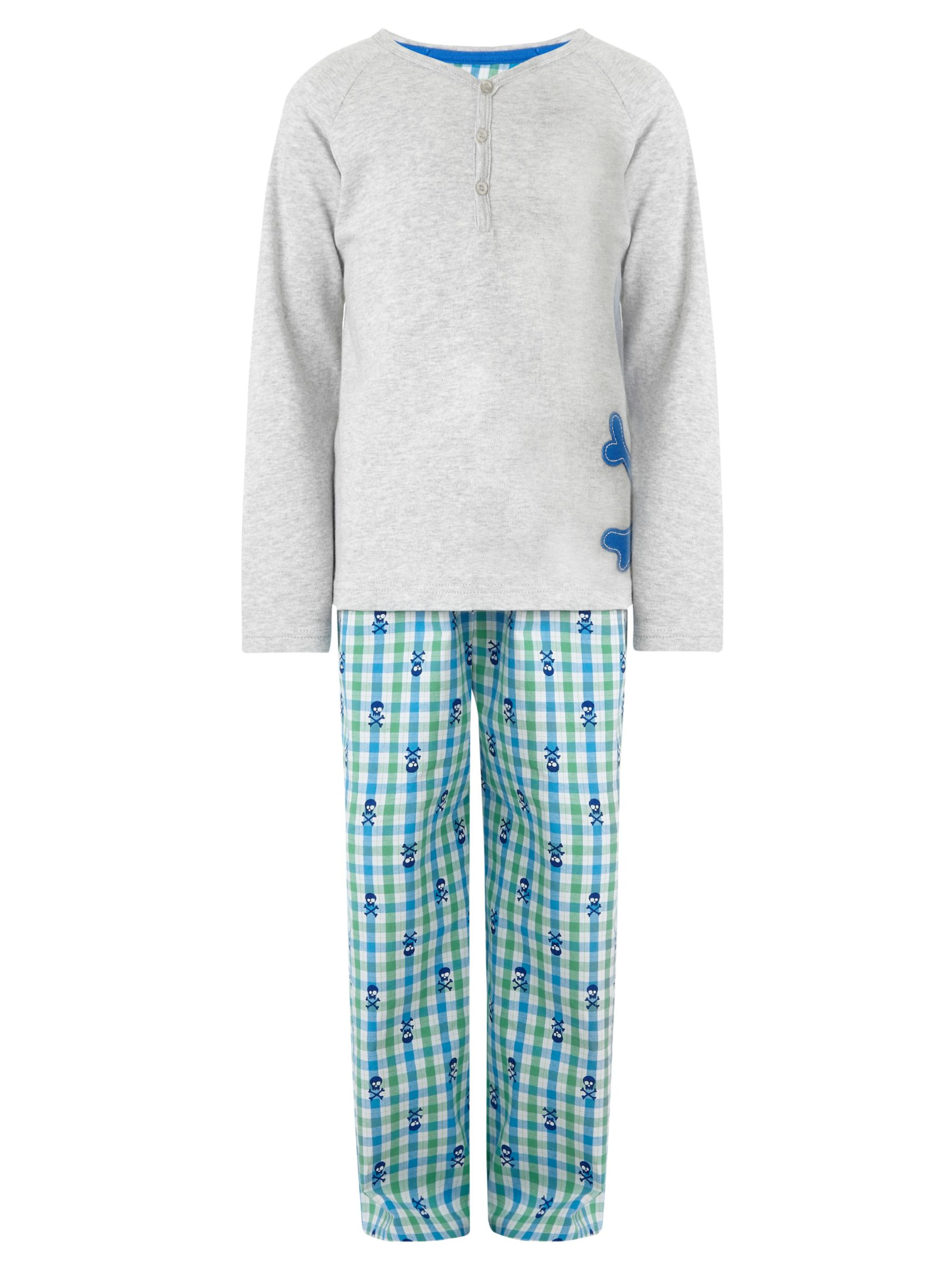 John Lewis Boy Skull and Crossbones Pyjamas, Grey