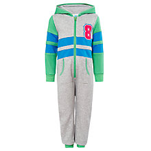 Buy John Lewis Boy Sporty Zip-Through Applique Onesie, Grey/Green Online at johnlewis.com