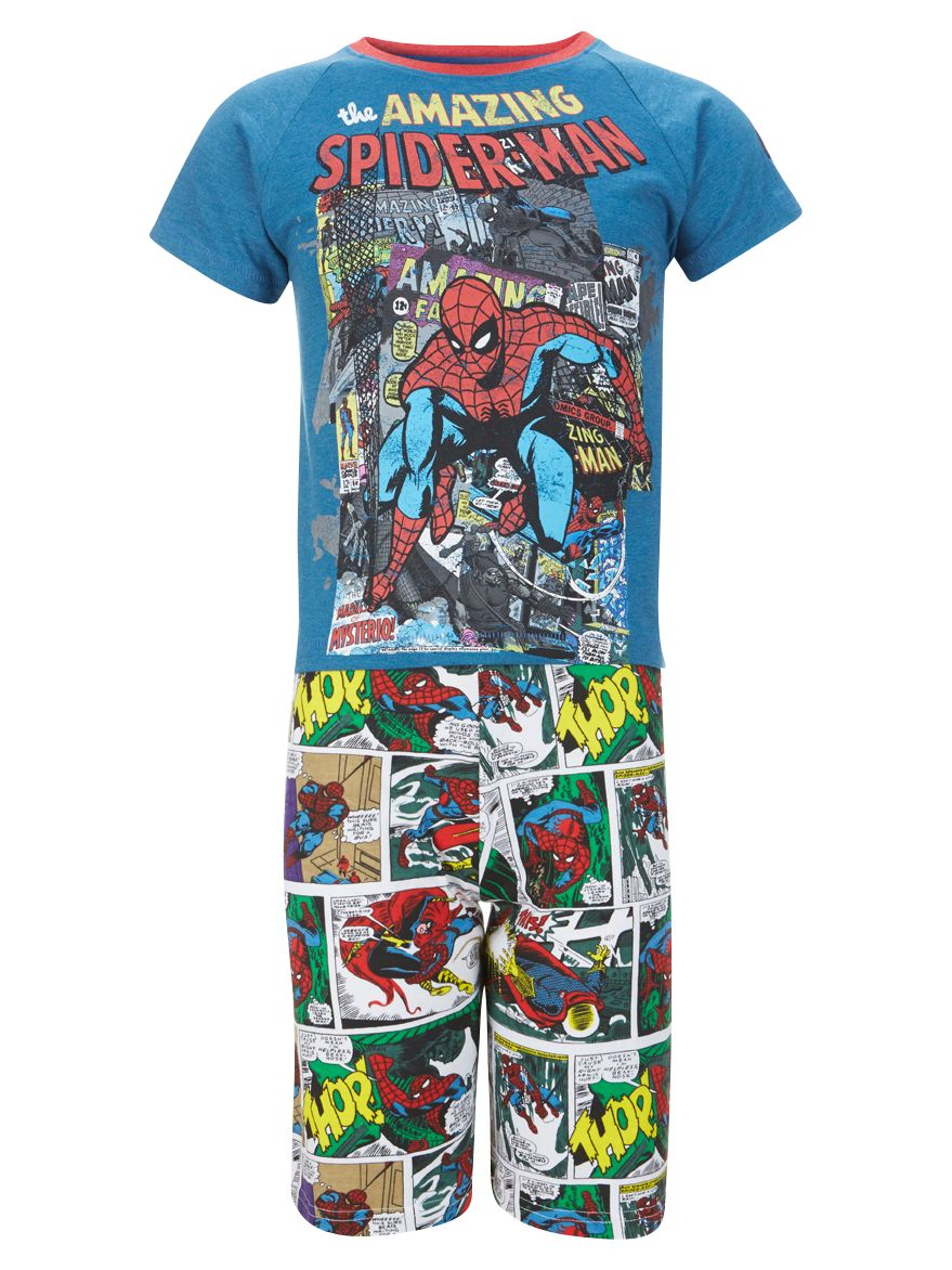 Spider-Man Shortie Pyjamas, Blue/Multi