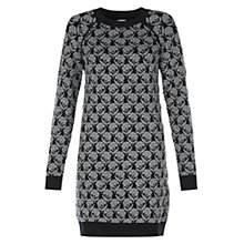 Buy NW3 by Hobbs Flower Jacquard Dress, Navy Mouse Grey Online at johnlewis.com
