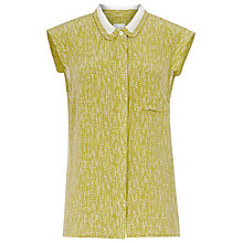 Buy Reiss Neala Contrast Collar Shirt, Absinth Online at johnlewis.com