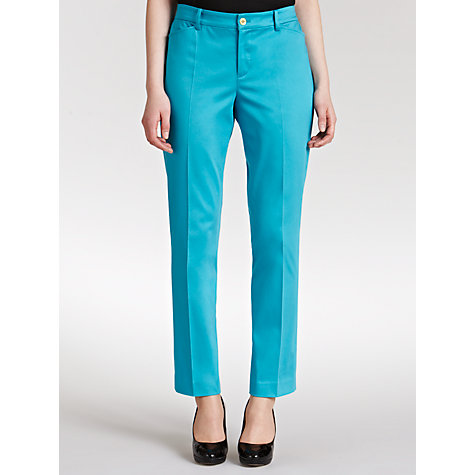 Buy Lauren by Ralph Lauren Stretch Cotton Ankle Trousers, Halfmoon Turquoise Online at johnlewis.com