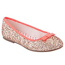 Buy John Lewis Girl Oceana Glitter Ballet Pumps, Gold Online at johnlewis.com