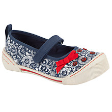 Buy John Lewis Girl Oriel Flower Beaded Mary Janes, Navy/Red Online at johnlewis.com