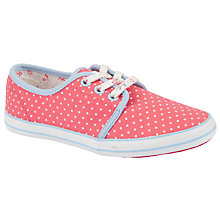 Buy John Lewis Girl Orlanda Dot Lace-Up Pumps, Pink/White Online at johnlewis.com