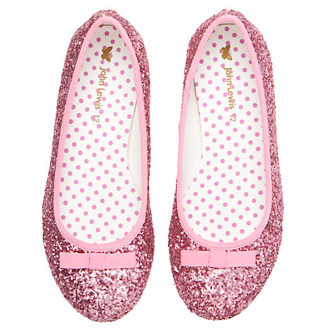 Buy John Lewis Girl Glitter Ballet Pumps, Pink Online at johnlewis.com