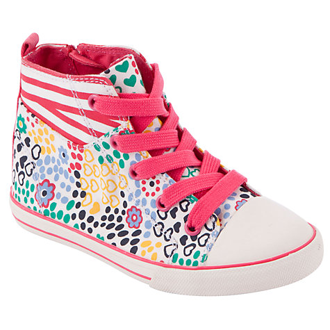 Buy John Lewis Ophelia Ditsy High Top Trainers, Pink/Multi Online at johnlewis.com